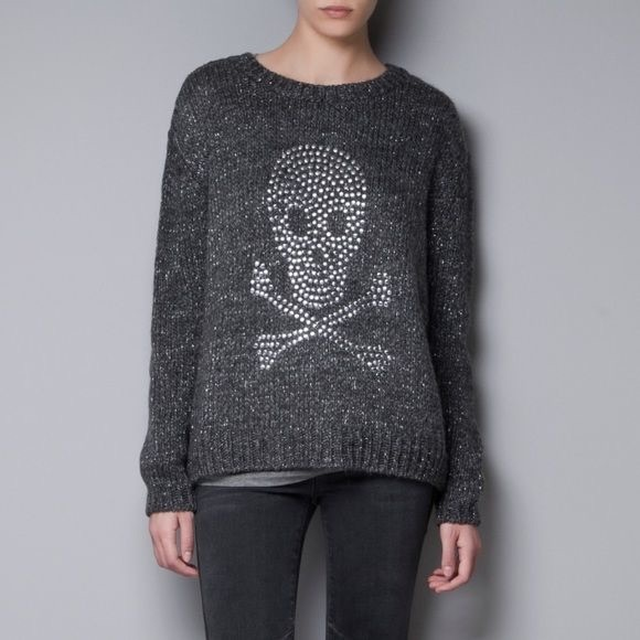 cf5114435ebb9 ZARA KNIT Metallic Skull Sweater